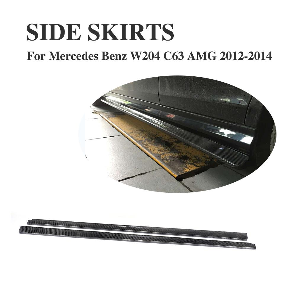 Carbon Fiber Auto Car Side Skirts Aprons Spoiler For Mercedes Benz C Class W204 C63 AMG 2012-2014 2PCS/Set Car Accessories for mercedes benz cla class w117 cla180 cla200 cla250 cla45 amg carbon fiber front lip splitter flap canard fits sporty car amg