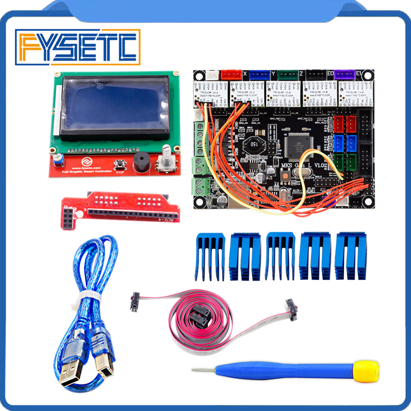 MKS Gen-L V1.0 Integrated Mainboard MKS Gen l v1.0 + 2pcs TMC2130 V1.1 For SPI Function + 3 pcs TMC2130 V1.0 + 12864 LCD Display mks gen l v1 0 integrated mainboard mks gen l v1 0 compatible ramps1 4 mega2560 r3 with 5pcs tmc2100 v1 3 stepper drivers