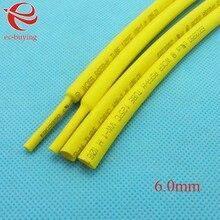 Термоусадочные Трубки Желтый Трубки Термоусадочные Трубки Диаметром 6 мм Термо Куртка Провода Wrap Изоляционные Материалы Элемент 1 м/лот