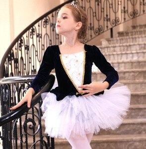 Image 4 - Uzun Kollu Kadife Bale Elbise Kız Bale Dans Tutu Balerin Dans Elbise Siyah/Pembe Kuğu Gölü Kostüm Kızlar Için çocuklar