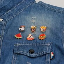 Burger Fast Food Tie Pin Hamburger Enamel milk cake Pizza Badge Fries Lapel Chocolate Drink Watermelon broches kid