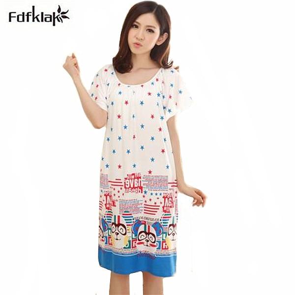 Nightgowns   For Women Long Cartoon Girls Nightwear Nightdress Cotton And Silk   Sleepshirt   Summer Dress Vetement Femme Q623