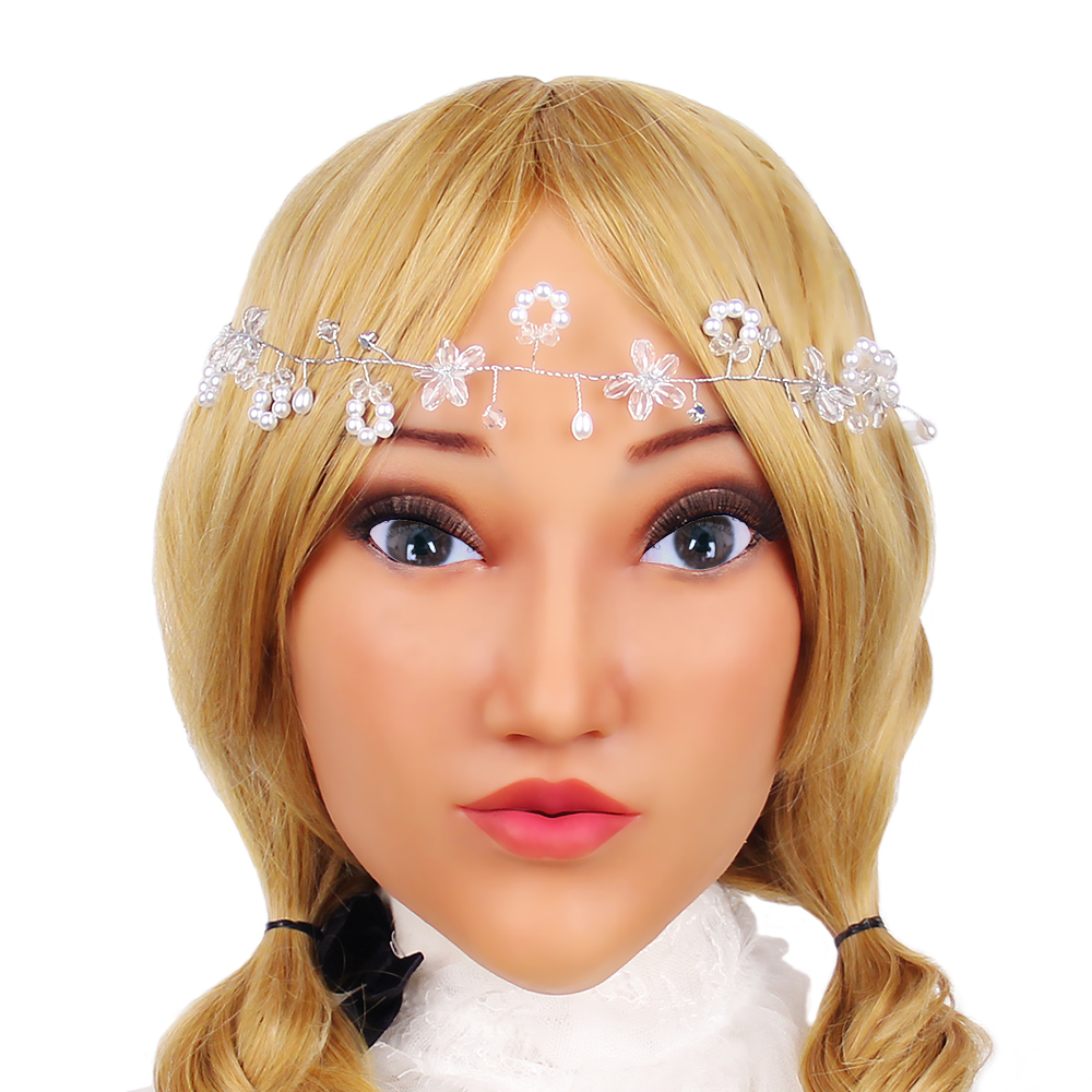 KOOMIHO Cute Style Soft Silicone Crossdress Cosplay Mask Female Head Mask Handmade Makeup Transgender Mask for Small Head 1G  - buy with discount