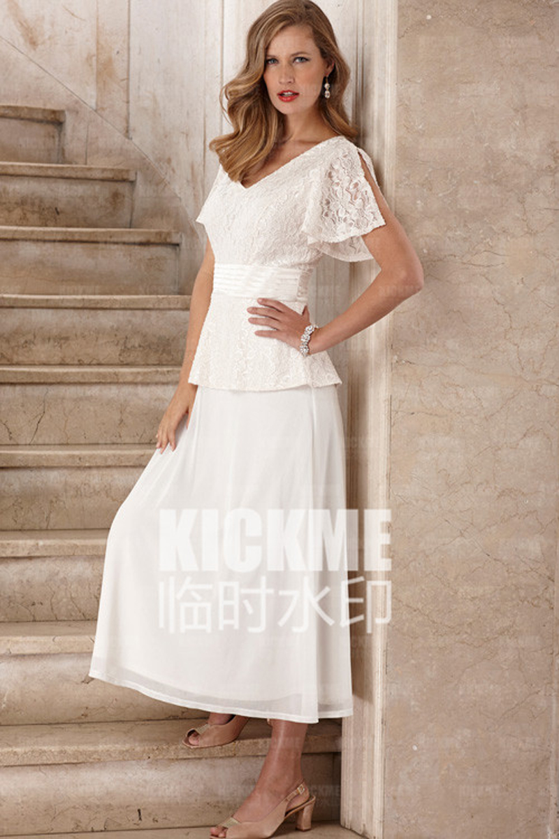 2016 new seath lace scoop cap sleeves ankle length mother for Ankle length wedding dress with sleeves