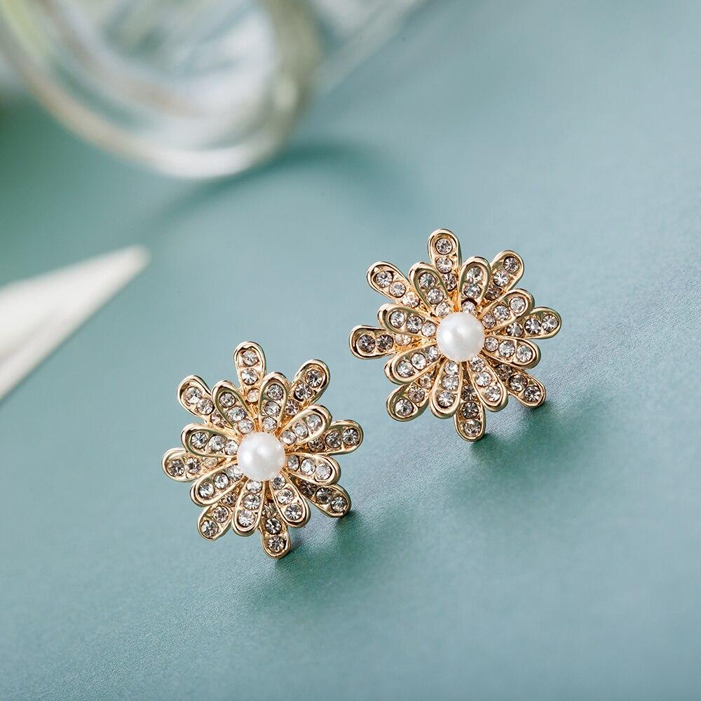 ALULU luxusní květinové perlové náušnice drahokamu náušnice zlaté náušnice módní šperky pro ženy vánoční dárky