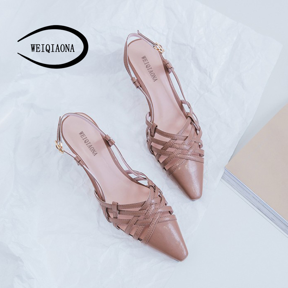 WEIQIAONA summer Fashion Women shoes Genuine leather Pumps Thin band combination stiletto heel pointed Ladies hollow Party shoes p23128 women patent leather thin heel pumps elegant pointed head stiletto fashion simple style ladies heeled shoes size 33 42