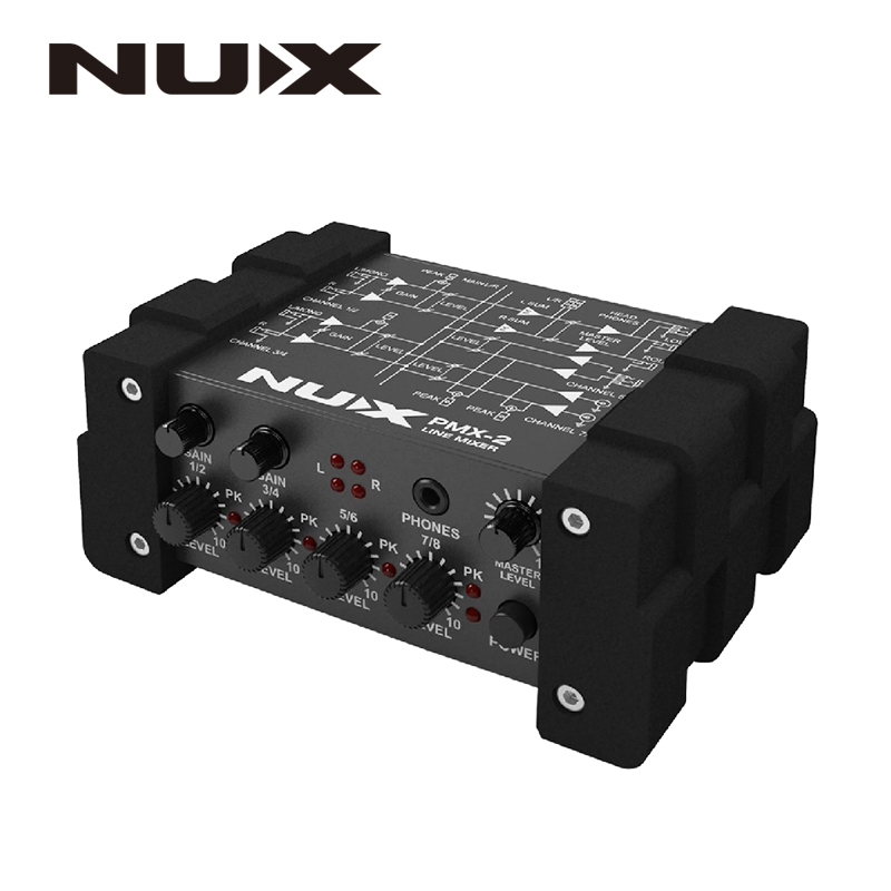 NUX PMX-2/PMX-2U I/O Line Mixer mini mixer console USB sound console 6/8 inputs 2 outputs volume indicator level control nux pmx 2 new multi channel line mixer overload indicator 8 in 2 out mixer fit several audio devices for electric guitar bass