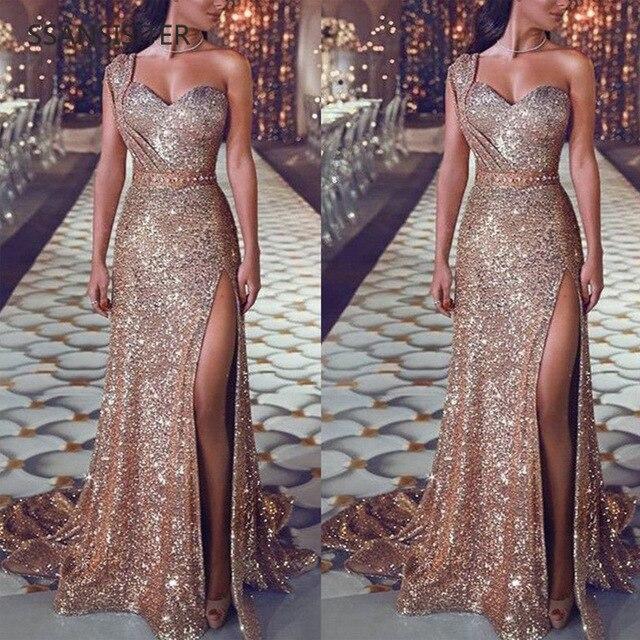 Explosivo Modelos Sexy Vestido Com Decote Em V Vestido Vestido De Festa Formal Vestido de Festa Vestidos De Lantejoulas De Ouro Vestido Longo Reflexivo