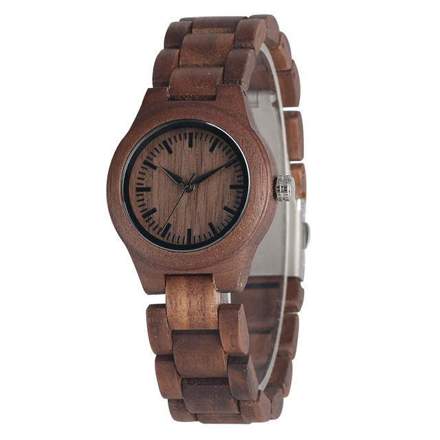 Elegant Walnut Wood Watch for Women Timekeeper Handmade Walnut Quartz Watch Movement Unique Coffee Wood Strap Wooden Wristwatch | Fotoflaco.net