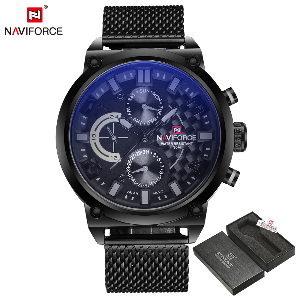 NAVIFORCE люксовый брендовый мужской 3ATM водонепроницаемые часы Мужские Аналоговые кварцевые часы 24 часа дата часы мужские спортивные часы полностью Стальные наручные часы - 2