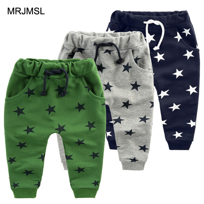 MRJMSL Hot sale children pants for baby boys trousers kids harem pants Size70~140  star fashion grey blue black 2019 Girls Pants(China)