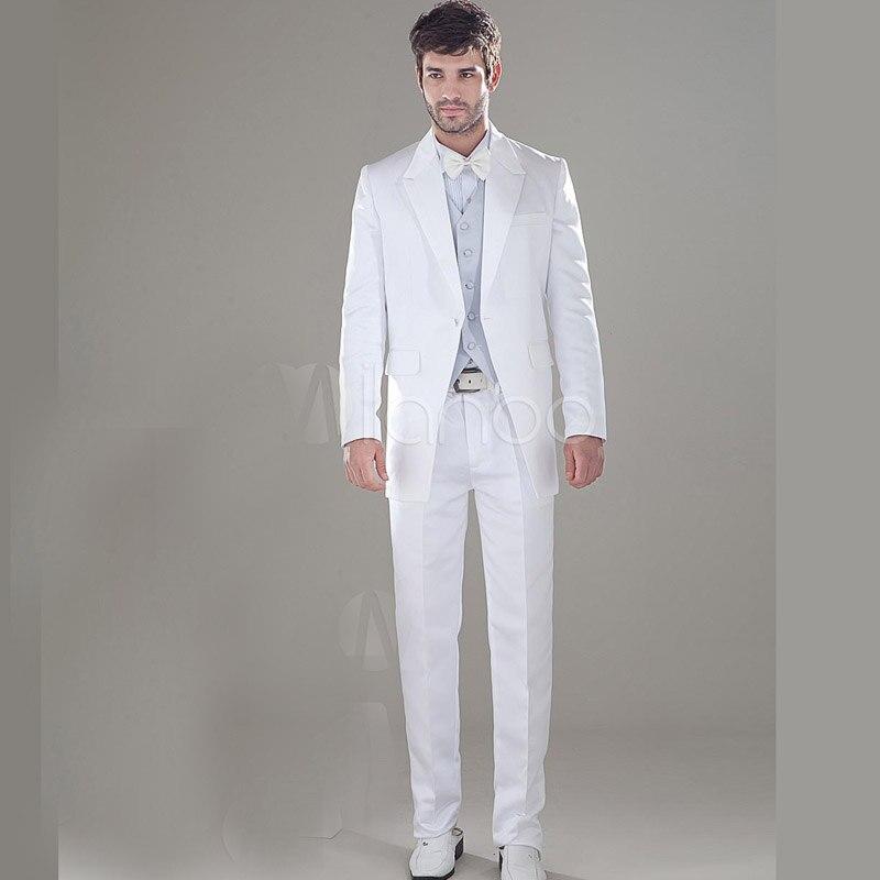 Shine Long Tail Tuxedo White Groom Wear Best Man Groomsman Suit ...