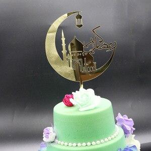 Image 1 - Nowy Ramadan akrylowy Topper do ciasta Eid Mubarak złoty Cupcake Topper do Hajj Mubarak ciasto dekoracje muzułmańskie Eid pieczenia Baby Shower