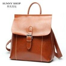 Sunny shop марка женщин конструктора рюкзак старинные натуральная кожа рюкзак bagpack школьные сумки для подростков девочек женщины сумку