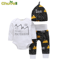 Spring Autumn Baby Boy Clothes Brand Fashion Letter Printing Rompers Pants Hats 3PCS Suits Newborn Baby