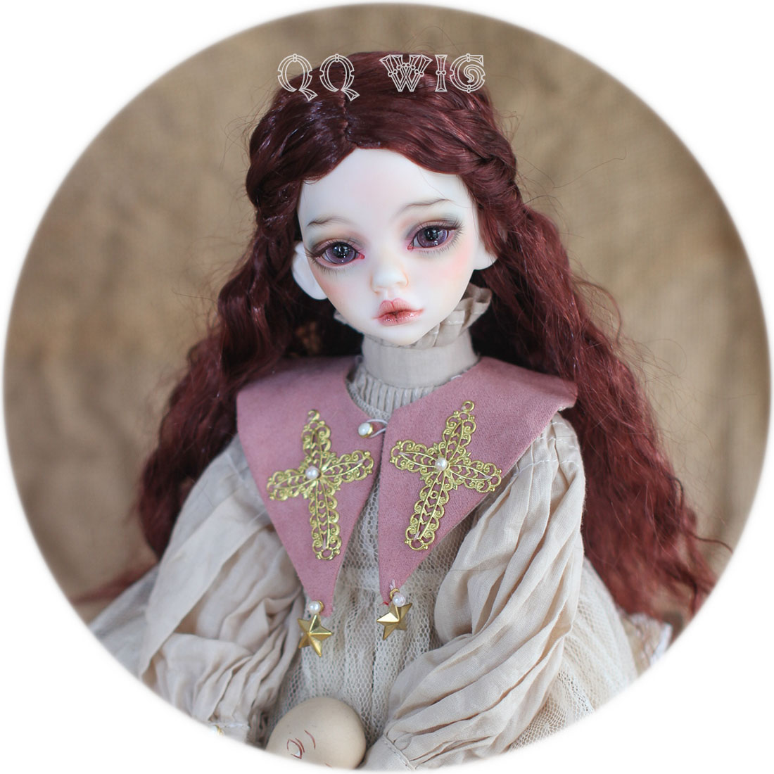 Free Shipping 1/3 1/4 1/6 Bjd Wig Mohair Msd Sd Yosd Fashion Wine Red Wavy Hair Wig free shipping newest 1 3 1 4 1 6 bjd wig high temperature long wire bjd wig msd sd yosd for bjd doll