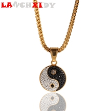 Fashion Tai Chi Men Women Necklace Bless Happiness Round Ice Zircon Couples Crysta Copper Pendants Hip Hop Rapper Jewelry Gift