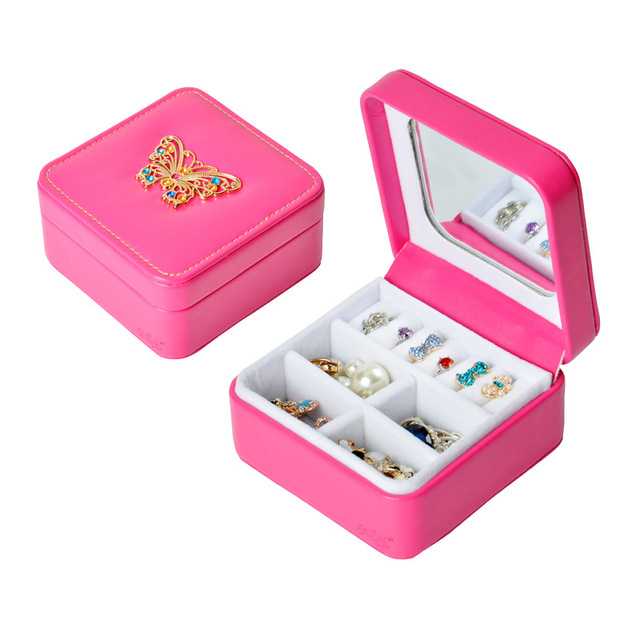 Fashion Mini Jewelry Box PU Leather Rhinestones Portable Travel