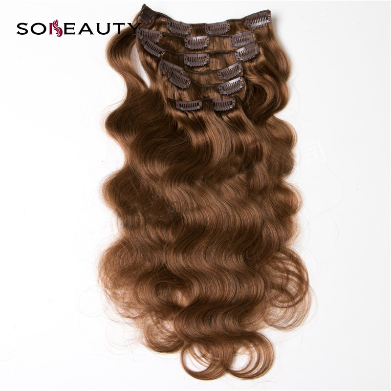 Sobeauty Clip in Human Hair Extensions Machine Made Remy Hair14'' 16''18''20''22'' 24'Full Head Body Wave tangle free 4#2# Color(China)