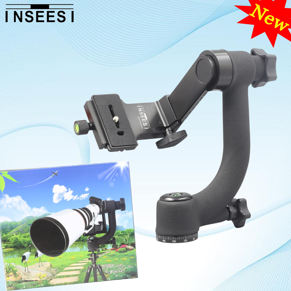 INSEESI Panoramic 360 Degree Gimbal Tripod Head Professional Telephoto Lens Quick Release Plate 1/4 Screw For DSLR Camera free shipping new professional quick release fast lens changing tool double head lens holder flipper for sony af camera lens