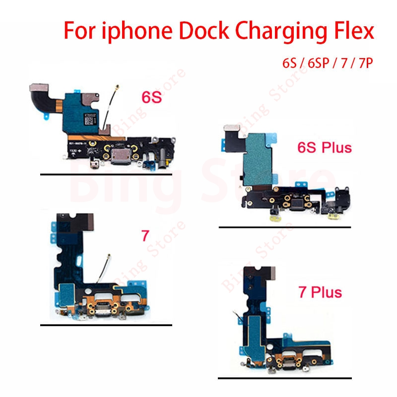 Charger Charging Flex USB Port Dock <font><b>Connector</b></font> Flex Cable For <font><b>iPhone</b></font> <font><b>6S</b></font> <font><b>6S</b></font> Plus 7 7 Plus Headphone Audio Jack Flex Ribbon image