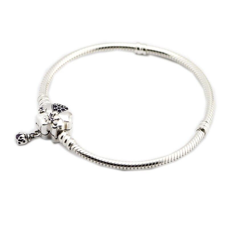 Pandulaso Fleur Pourpre Cristal Fermoir Serpent Chaîne bracelets en argent pour les Femmes 2018 Nouveau Printemps Argent 925 Bijoux bracelets à breloques