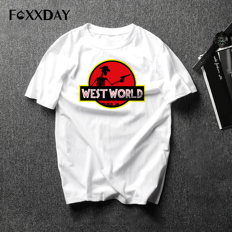 2018 Short Sleeve O-neck Westworld knitted fabric T Shirts West World Casual T-shirt Skull Male Tee Shirt Free Shipping Camiseta