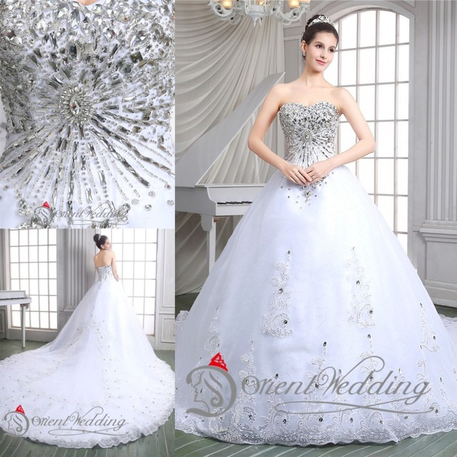 Sparkly Luxury 2015 Bling Sweetheart Lace Up Country Western Style China Ball Gown Wedding Dresses Bridal