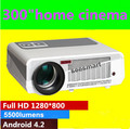 Brightest 5500lumens Built-in Android 4.2.2 Native Full HD Led Digital Smart Wifi RJ45 home cinema projector