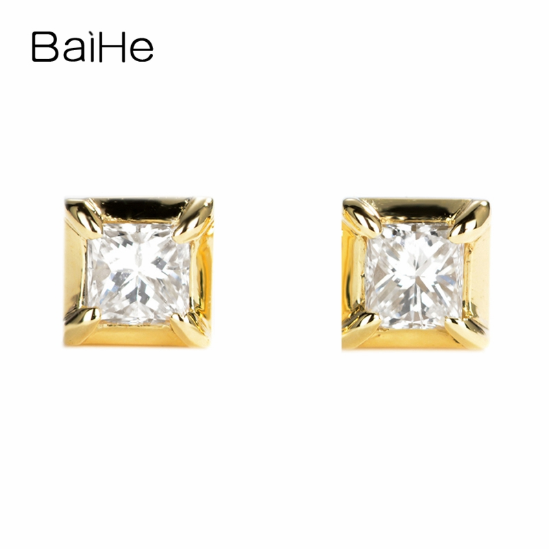 BAIHE Solid 14K Yellow Gold 0.20ct Princess Shape I-J/SI 100% Genuine Natural Diamonds Wedding Trendy Fine Jewelry Stud Earrings все цены