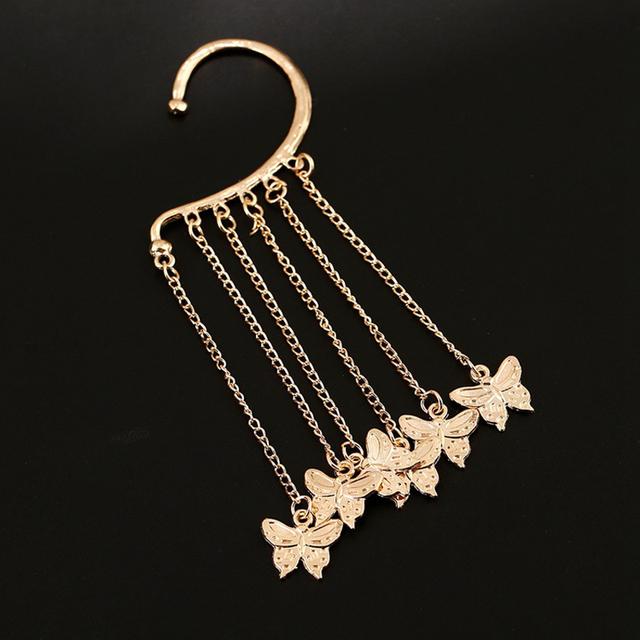 Butterfly Tassel Alloy Clip Earrings
