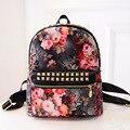 2016 Women's Printing Backpack Teens School Bags for Teenagers Rivet Youth Backpack for Teenage Girls Mochila Feminine Sac a Dos