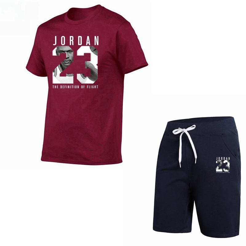 New casual suit men's summer quality couple sportswear cotton printing Jordan 23   T     shirt   + shorts two-piece fashion clothing