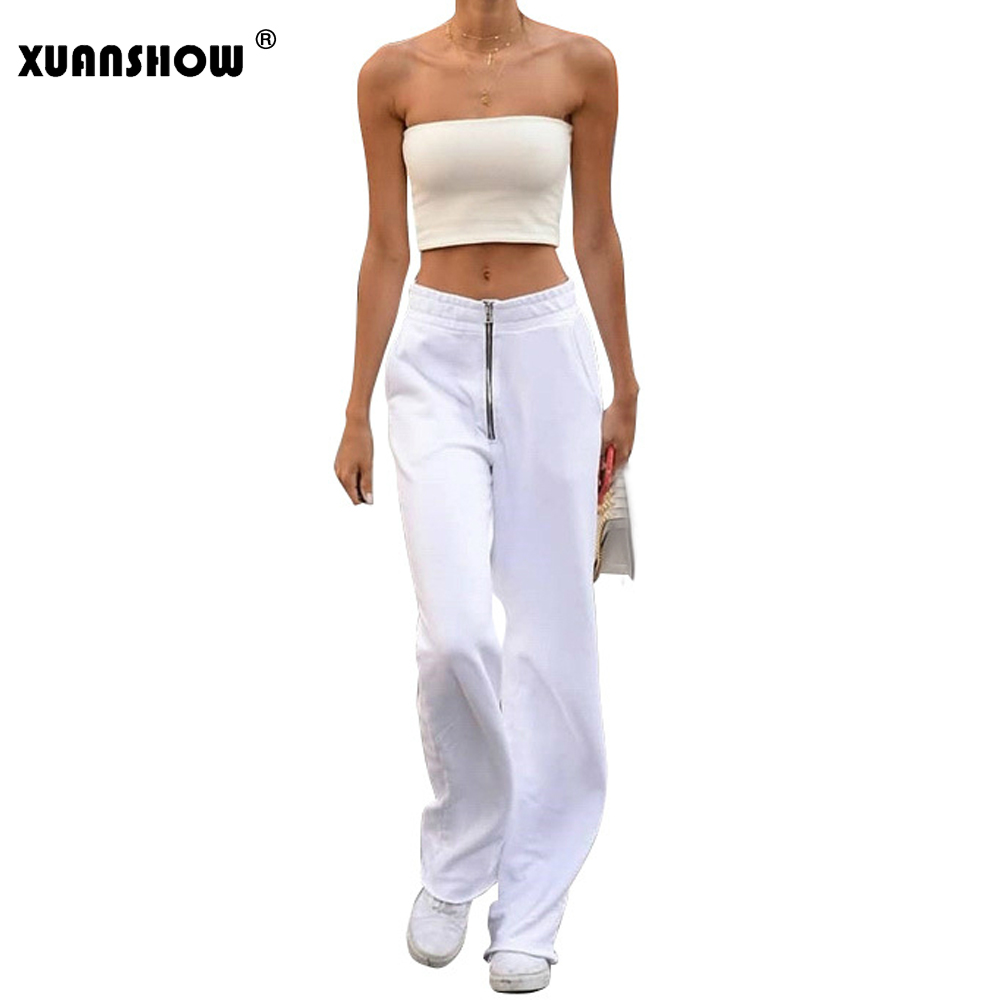 XUANSHOW Pantalon Femme 2019 New Fashion   Wide     Leg     Pants   Women Solid White Zipper Fly High Waist   Pants   Streetwear Trousers Mujer