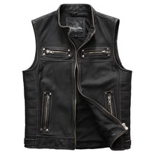 2019 Vintage Black Slim Fit Biker's Leather Vest Plus Size 4XL Genuine Thick Cowhide Short Russian Motorcycle Vest FREE SHIPPING(China)