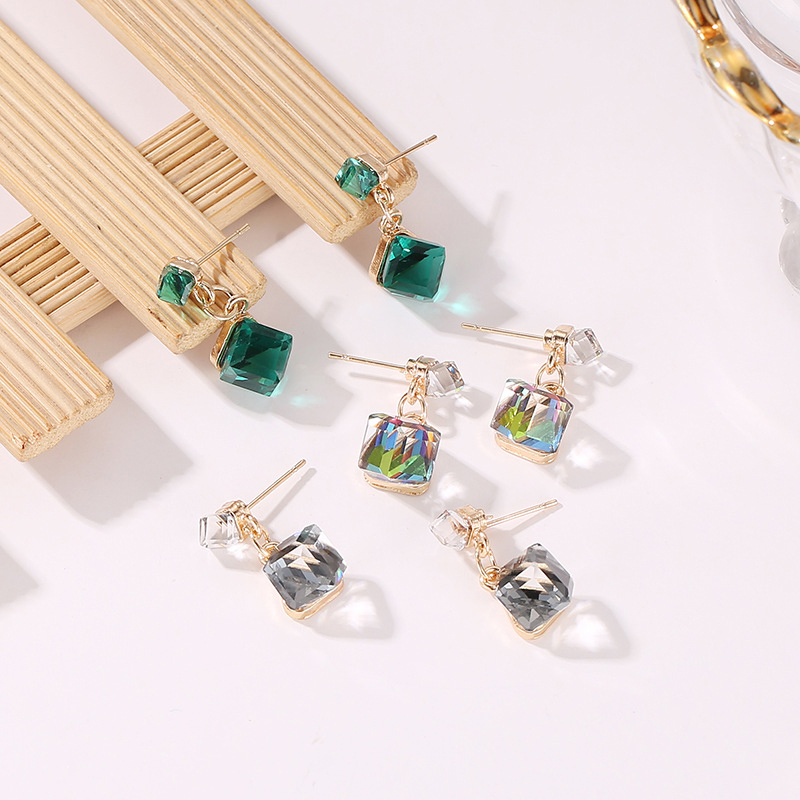 Sale CZ Cube Pandent Drop Earring For Women With Stones Crystal Clear Green Color Dangle Earrings Jewelry Gift
