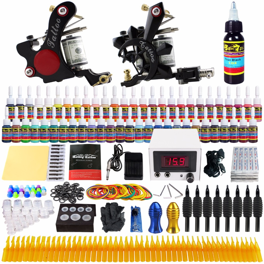 все цены на Stigma Tattoo Complete Kit Starter Tattoo Kit Professional 2 Machine Guns 54 Inks Needles Power Supply Grips Tips TK225