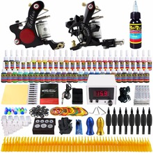 Stigma Tattoo Complete Kit Starter Tattoo Kit Professional 2 Machine Guns 54 Inks Needles Power Supply Grips Tips TK225 professional tattoo kit rotary machine guns needles beginner kit inks set tattoo power supply