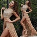 Luxo cristal Longo de Duas Peças Vestidos de Baile 2015 com mangas curtas Champagne Chiffon Drapeado Vestido de Noite vestido de Festa vestido de Alta Baixa