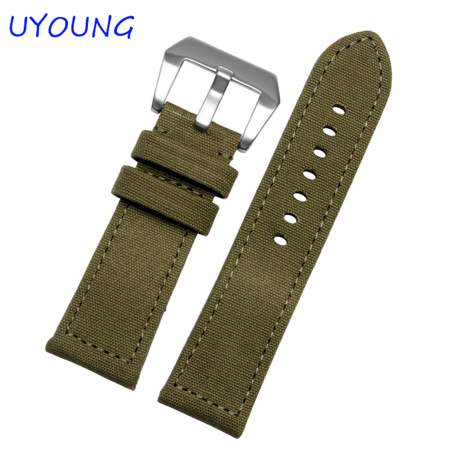 Calidad de Nylon Correa de Reloj 24mm Correa de Camuflaje Deportes de Ocio de Los Hombres Negro/Verde Para Panerai