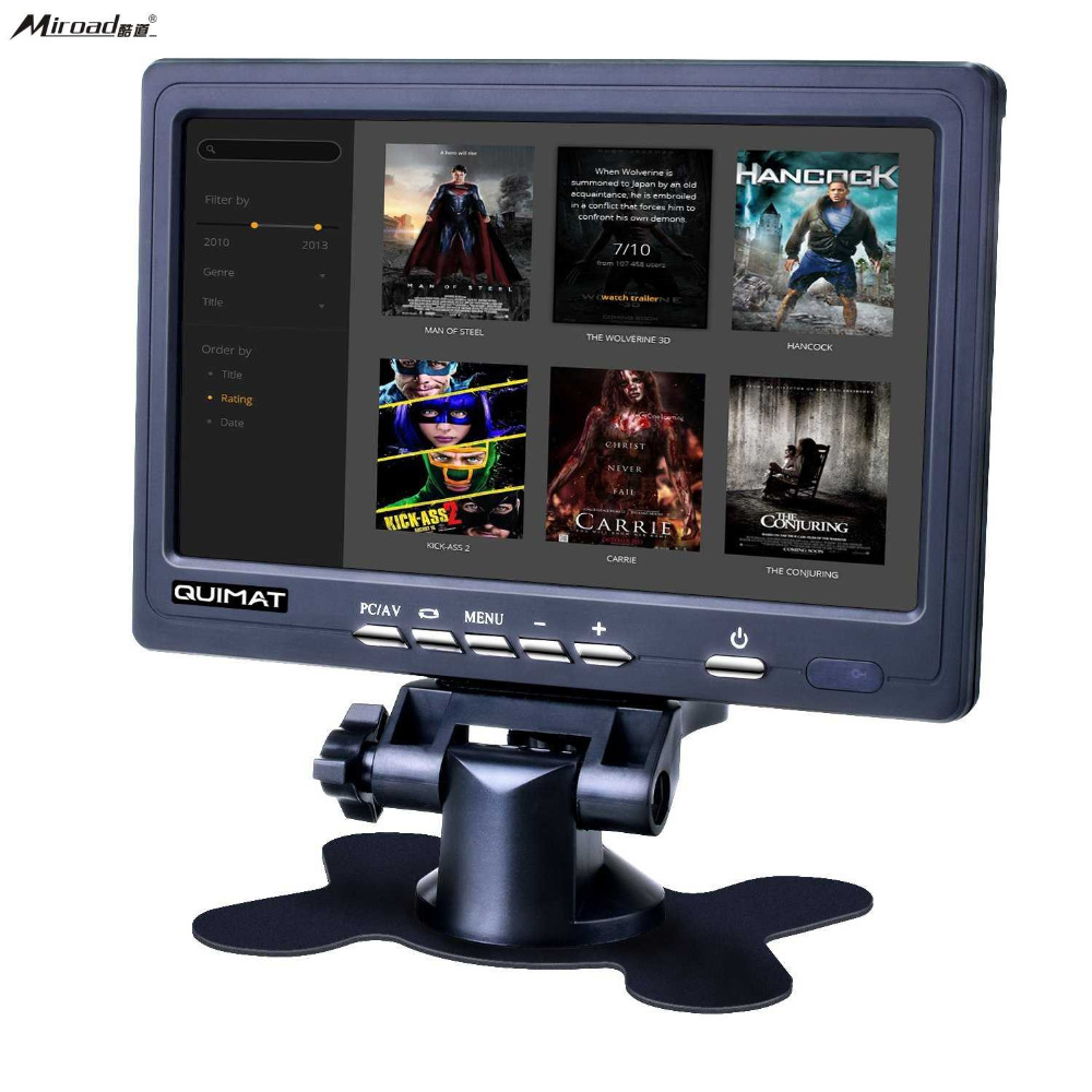 7 Inch HD Screen Display,Miroad1024x600 AV/VGA/HDMI TFT LCD Monitor with Built-in Speaker for TV Box CCTV Computer PC DVR QSC7J carpc monitor auto computer monitors 7inch led touch screen monitor with vga and 2av av2 reverse camera for car pc