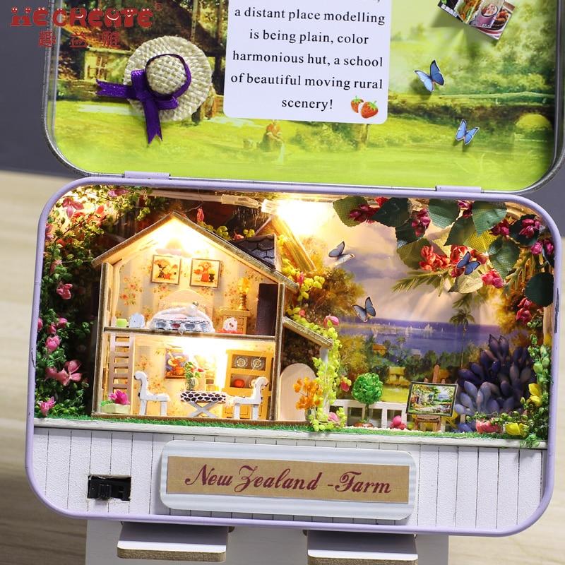 DIY Puppenhaus Kit mit Blechdose Theater Puppenhaus Miniatur - Puppen und gefüllte Spielsachen