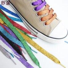 wholesale 5 pairs new fashion sneakers Shoe laces Multi – color gold and silver thread shoelaces men & women shoes laces
