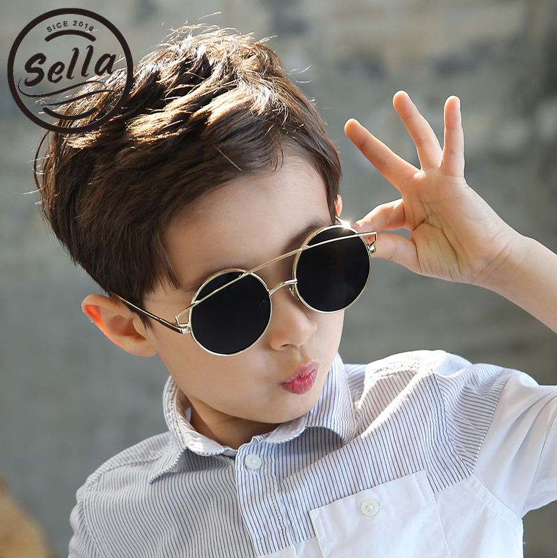 Sella New Arrival Fashion Kids Round Sunglasses Alloy Frame Mirror Lens Children Retro Sun Glasses Color Film Summer Eyewear