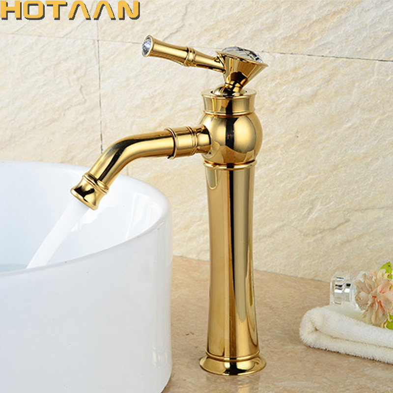 Free shipping Modern Gold Faucet,gold bathroom faucets,gold finish basin faucets,gold tall high bathroom sink faucet YT-5096