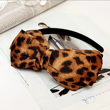 Hair accessory vintage gorgeous leopard print bow hair bands autumn and winter hair accessory headband