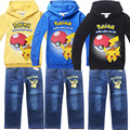 Children Autumn Winter Suit Baby Boy POKEMON GO Clothing Sets Kids Pikachu Sport Sweatshirt+Jeans Clothes Suits Boys Clothes Set