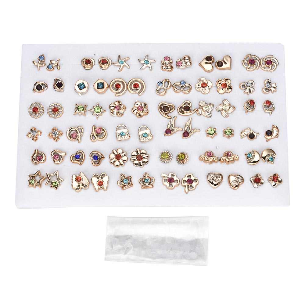12~36 Pairs Fashion Women Girls Resin plastic Crystal Diamante Flower Stud Earrings Set random style gold silver Jewelry