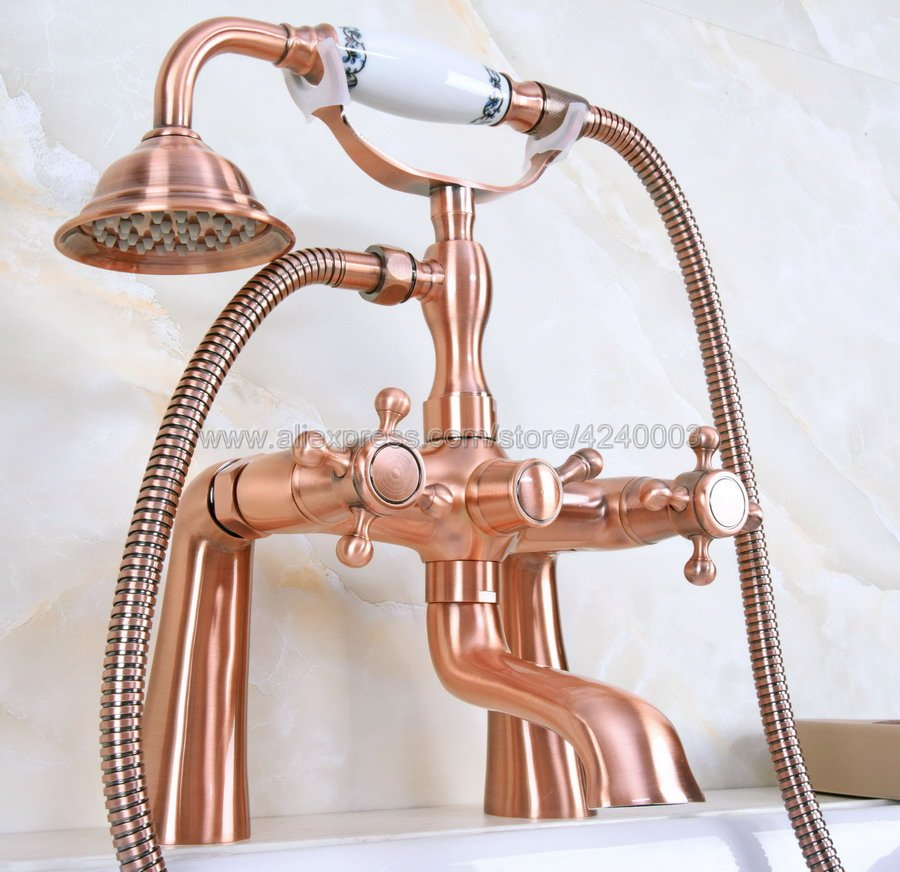 Antique Red Copper Dual Handle Bathroom Tub Faucet Deck Mounted Bathtub Mixer Taps with Handshower Kna161 цена