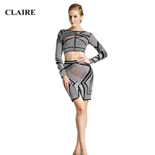 Claire 2015 Fall Winter Foil Print Long Sleeve Ladies Bodycon 2 Two Piece Club Party Rayon Suit Womans HL Bandage Dress Sets 536